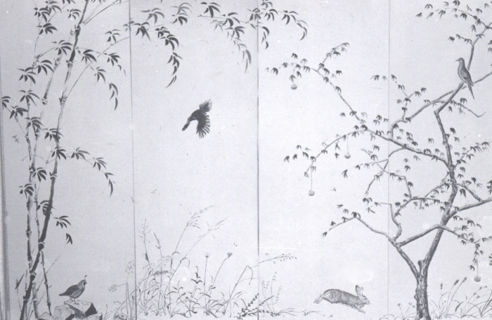 Birds on a Sumie screen